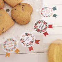 Wholesale Homemade Gift Packaging - 600pcs lot Top Quality Craft Paper Adhesive Seals Stickers Labels Homemade DIY Tags for Cookie Cake Gift Packaging Decoration