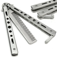 Wholesale hot sale Silver Practice Butterfly Knife Trainer Training Folding Knife Dull Tool Outdoor Camping Knife Comb