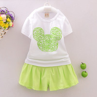 Wholesale Summer Set Minnie 2pcs - Kids clothes baby girls minnie mouse clothing sets kids short sleeve t shirts tops +skirt pants 2pcs 4 sets l
