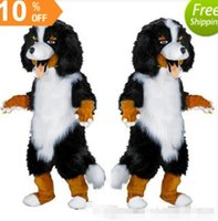 Wholesale Sheep Dog Costume - Fast design Custom White & Black Sheep Dog Mascot Costume Cartoon Character Fancy Dress for party supply Adult Size