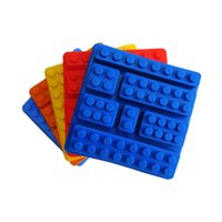 Wholesale square silicone tray - Silicone Lego Brick Style Square Sharped Ice Mold Chocolate Mold Cake Jello Mold Building Blocks Ice Tray DIY