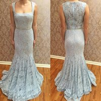 2017 Square Neckline Vestidos Formal Romântico Lace Mermaid Evening Dresses Sheer Back Zipper Up Prom Vestidos Sweep Train Crystals Beads