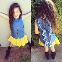Wholesale Vintage Boy Autumn Fashion - 2016 Kids Girls Summer Denim Tees Back Ruffles Fashion Tops Denim Washing Vintage Kids Tops