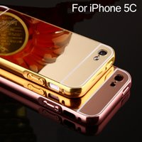 Hard Case Mirror gros-For iPhone 5C pour l'iPhone 5C Luxury Gold Frame Rose Argent Aluminium + Acrylique Caso cas de couverture pour iPhone 5C