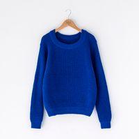 Wholesale Thick Crochet Top - women winter knit sweater Sweater U-neck Knitwear Pullover Jumper Tops
