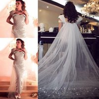 Wholesale Cheap Dresses Evening Gowns Online - Arabic Luxury Beading Vestidos De Festa Long Straight Bateau Off The Shoulder Pearls Beaded Evening Dresses Cheap Online Prom Gowns