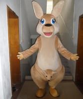 Wholesale Kangaroo Adult Costume - SX0725 kangaroos costumes 100% real picture a brown kangaroo mascot costume with baby kangaroo for adult to wear