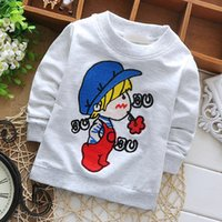 Wholesale Girls Hoodie Tshirt - Wholesale- Fashion Boys Round Neck Tshirt Children Baby Girls Cotton Outwear Clothes Kid Wear Cartoon Hoodies Sweatshirts KT021B
