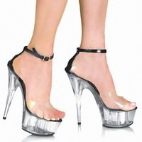 Wholesale Sandals Woman Shoes China - 6 inches with crystal shoes made in China 15 cm platform for women's fashion sandals, sexy stripper shoes nightclub