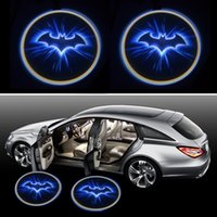 Wholesale Car Light Ghost - batman BLue Wireless Car LED door Welcome Projector Logo ghost shadow light for kia rio hyundai logan lada polo almera jetta