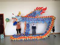 Wholesale Ocean Dance Costumes - 4m size 5 For 4 student silk fabric Chinese Spring Day DRAGON DANCE ORIGINAL Dragon Chinese Folk Festival Celebration Costume