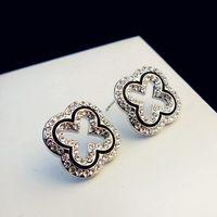marca de jóias de prata coreana venda por atacado-Luxo marca coreana de cristal brincos oco do vintage para fora Flor Brincos para Mulheres do ouro da festa banhado a prata Bijuteria Bijoux Femme