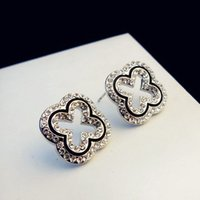 Wholesale Silver Rhinestone Costume Jewelry - Luxury Korean Brand Crystal Stud Earrings Vintage Hollow Out Flower Earrings for Women Gold Silver Plated Party Costume Jewelry Bijoux Femme