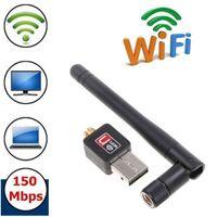 Wholesale Mini Station - 150Mbps mini USB wireless network card WiFi USB Network Adapter USB 2.0 Station WIFI receiver adapter External Antenna