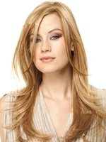 Wholesale Long Cosplay Wig Bangs - Fashion Women Long Straight Gold Mixed Color Natural Wigs High Tempreture Resistant Synthetic Hair Inclined Bang Long Cosplay Wigs of Blonde