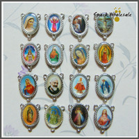 Wholesale Mary Heart - 100pcs lot Wholesale Rosary Centerpiece Sacred Heart of Mary Guadalupe Divine Mercy Jesus Saint Icons Religious Center Piece