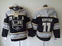 anze kopitar hoodies großhandel-Top Qualität ! Old Time Hockey Trikots Los Angeles Kings 11 Anze Kopitar Schwarz Hoodie Pullover Sport Sweatshirts Winterjacke