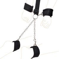 Wholesale harness ball gagged - ankles crossed cuffed bondage Newest Silicone Open Mouth Gag Ball with Hand Cuffs and Ankle Cuffs, Fetish bdsm Bondage Restraints Harness