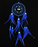 Nueva 55cm India estilo hecha a mano Blue Dream Catcher red circular con pluma colgante Decoración Decoración Adorno Regalo