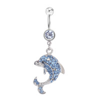 Wholesale girl dolphins - D0042 ( 3 colors ) nice style Belly Button Navel Rings Body Piercing Jewelry Dangle Accessories Fashion Charm Dolphin 20Pcs Lot