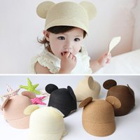 Wholesale Crocheted Caps For Girls - Baby fashion straw Equestrian cap straw big Round ears sunhats for girl and boys kids peak cap 6colors 115pt