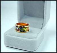 Wholesale Garden Engagement - Dream Garden Series rings 18K gold-plated enamel rings Top quality ring for women band rings for gift