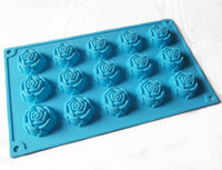 Wholesale Silicone Icing Molds - 15 Rose Flower chocolate Cake Mold Flexible Silicone Soap Mold For Handmade Soap Candle Candy bakeware baking moulds kitchen tools ice molds