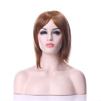 Wholesale Wig Brown Long Cosplay - New Arrival Hot Stylish Carved Hair 14 inches Middle Long Straight Light Brown Synthetic Hair Cosplay Wig&Party wig  Full Wigs