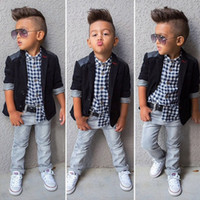 Wholesale Wholesale Boys Blazers - XN47 Kid Sprig Autumn Boy 3 Pieces Sets Cowboy Formal Party suits Boy Fashion Style Blazer + Plaid T shirt + Denim Pants 2T-8T