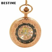 Wholesale Mechanical Pocket Watch Gold - BESTIME Watch Classic Rose Gold Engraved Mechanical Half Hunter Pocket Watch Chain Roman Numerals Black Dail