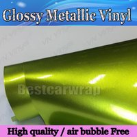 Wholesale Full Electric Cars - Glossy Metallic Electric Lime Vinyl Wrap With Air bubble Free Gloss Lemo Full Car Wrap covering auto foil Size:1.52*20M Roll 4.98x66ft