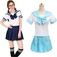 Wholesale Lingerie Sailor Costume - Wholesale-Liz Lisa Sailor Dress Japanese Clothes School Girl Students Sailor Lingerie Uniform Cosplay Outfit Lolita Skirts Tops