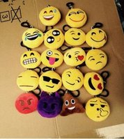 Wholesale keychains good quality resale online - FEDEX Good Quality CM Emoji Keychains Soft Stuffed Plush Keyrings for Promotional Gifts
