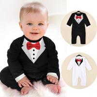 Wholesale Tuxedo For Baby Boys White - Newborn Boy Baby Formal Suit Tuxedo Romper Pants Jumpsuit Gentleman Clothes for infant baby romper jumpsuits