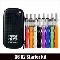 Wholesale New Kts - New X6 V2 KTS Ego E Cigarette starter Kit 1300mAh battery V2 atomizer Tank Zipper Case vs X6 protank vape kit