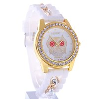 Wholesale Platinum Watch Ladies - New Dress Casual Owl Quartz Clock Female Popular Relogio Luxury Diamond Ladies Wristwatches Women Silicone Chain Fashion Watch