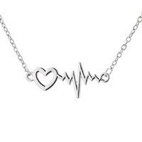 Wholesale Heartbeat Gifts - Lifeline Pulse Heartbeat ECG Charm Heart Pendant Necklace Cardiogram for Women Lady Valentines Gift
