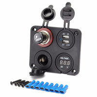 voltmetre led toptan satış-Araba Çift USB Portları ile Adaptör Şarj Mavi LED Göstergesi + Voltmetre + Çakmak Soket Çakmak ile 12 V CEC_61N