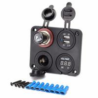 voltímetro de 12v para carro venda por atacado-Car Dual USB Portas Adaptador de Carregador com Indicador LED Azul + Voltímetro + Soquete de Isqueiro com 12V Mais Leve CEC_61N