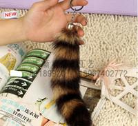 Wholesale Real Fox Tails - 100% Ursfur Real Canadian Fox Fur Tail Keychain Bag Tassel Hanging Tag Strap Car Key Chain Ring Gift 25cm car keychain