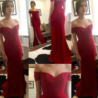 Wholesale Cheap High Top Shorts - Simple Elegant Long Formal Dresses Evening Wear Dark Red Mermaid Off the Shoulder Prom Party Gowns High Split Sweep Train Cheap Top Quality