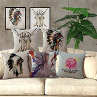 Wholesale Indian Beds - Indian Dreamcatcher Skull pillow Cases linen cotton Cushion Cover Square Throw Pillow Case Home soft Bed Pillowcases Christmas gift 240432