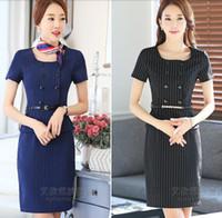 iş kıyafeti toptan satış-Yaz Yeni Iş kıyafetleri elbise Kısa kollu moda şerit Ince mizaç Orta-Etek Tulum Kadınlar Casual Elbise Boyutu S-3XL