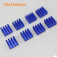 Wholesale Vga Ddr Card - Wholesale- 8pcs set Blue IC LED VGA Card DDR for Xbox360 Heat Sink Cooling Cooler Heatsinks 15 x 15 x 8mm