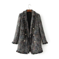 Wholesale Top Coat Double Breasted - Women Blazers Ladies Office Suits Girls Full Sleeve Double Breasted Notched Collar Jackets 2017 Autumn Women Tassel Coat Tops Clothing W167