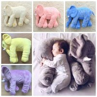 Wholesale Kids Pillow Wholesale - 6 Colors 60*45*28cm Elephant Pillow INS Pillows Long Nose Elephant Dolls Baby Plush Toys Kids Stuffed Cushion Birthday Gift CCA7173 30pcs