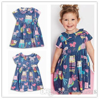 Wholesale Doll Collar Dress Sleeve - 2016 Summer Children short Sleeve Girls Doll Collar Cartoon Picture Dresses Princess Child Dresses Clothing Free shipping E1140