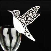 Wholesale Glossy Invitations - 50pcs lot Laser Cut Table Name Place Bird Shape Cup Cards Wedding invitation Wedding Party Decoration Wedding Favors Party Supplies