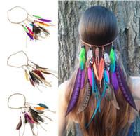 Wholesale Hair Jewelry Leather - Boho Long Multi Feather Bead Threaded Hair Cuff Headband Hair Accessory Jewelry HJIA483