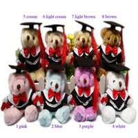 Wholesale graduation plush toys - New 12PC lot 14cm Dr. Oso Graduation Teddy Bear Plush Long Wool Bear Dolls Cartoon Stuffed Toys For Doctor Students Gifts